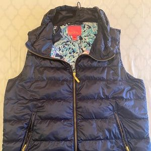 Palm paradise Lilly Pulitzer puffer vest XL navy